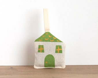 Lavender sachet - cottage shaped - hand printed green and golden - cotton loop - for hanging or slip among clothes