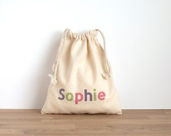 6 + party bags - three colour text - hand printed with personalised text in purple, green and pink - favor bags - kids party, birthday party