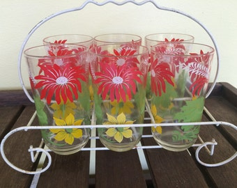 SALE !! Vintage 6 Glasses in Carrier Caddy Tumblers