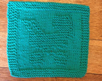 hand knit Baby Carriage wash cloth
