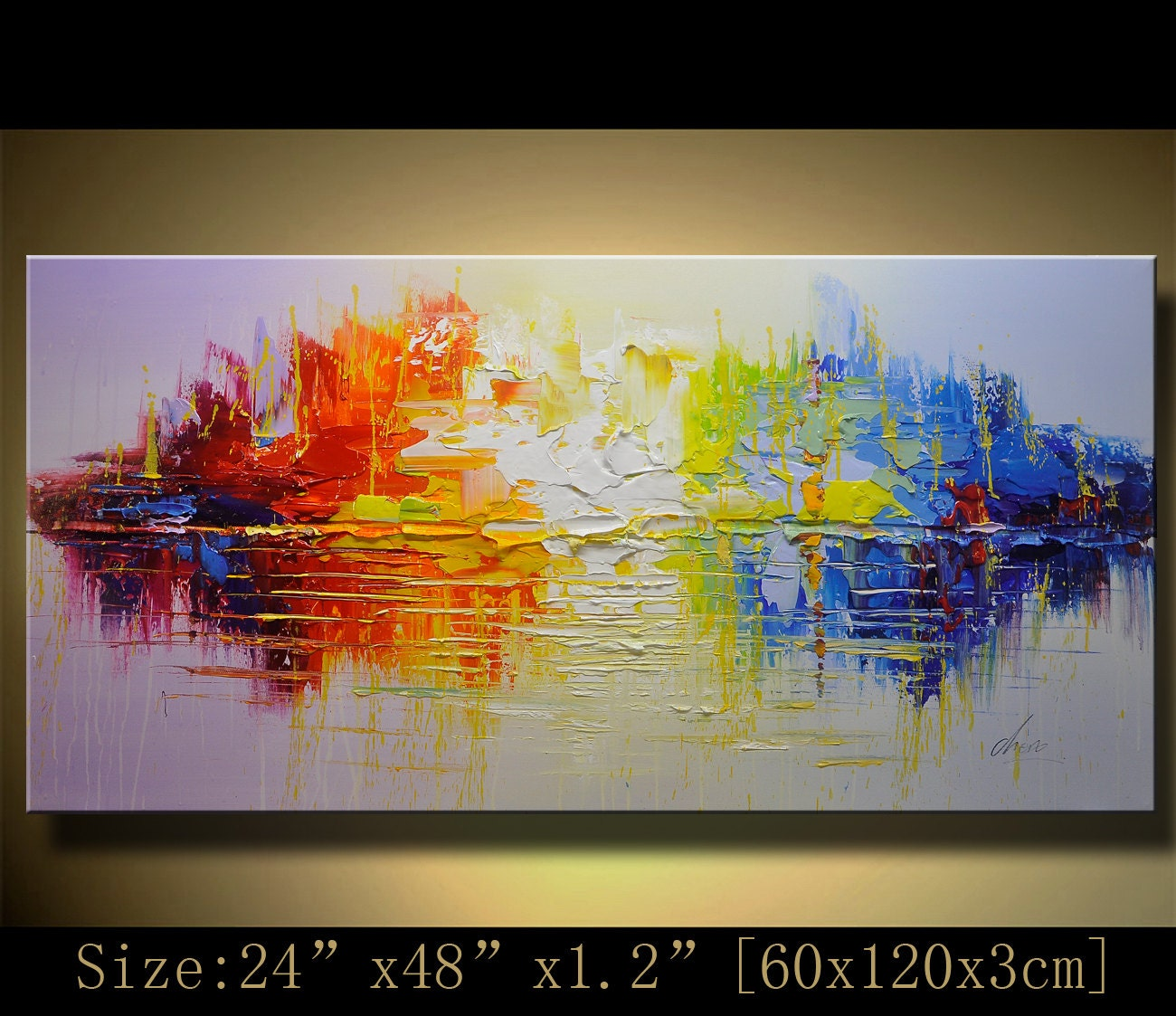 Original abstract modern textured impasto palette by for Palette knife painting acrylic