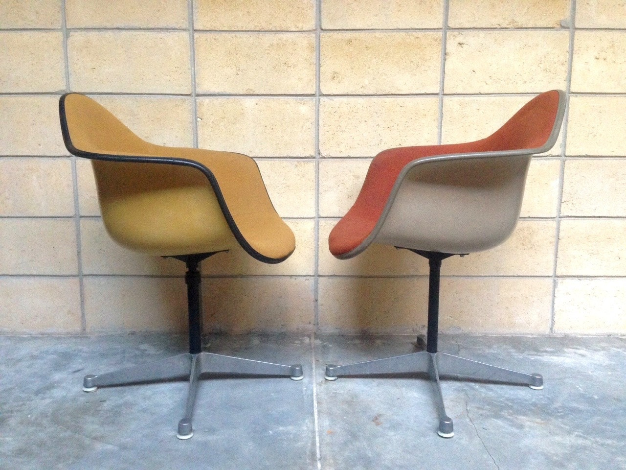 Rare pair of vintage eames fiberglass armchairs on contract swivel bases by herman miller - Herman miller bucket chair ...