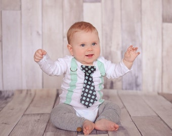 Baby Boy, Mint Green and Grey Boy Tie Bodysuit with Suspenders - Pick your own - Baby boy birthday, Baby Shower Gift, Polka Dot