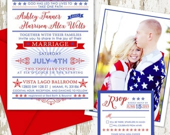 4th of July Wedding Invitation Set, Red, White and Blue to Celebrate Independence Day!