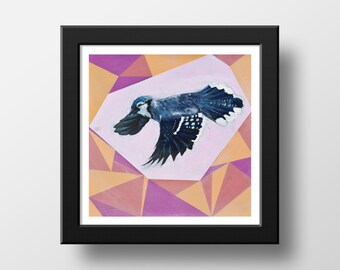 Blue Jay With Geometric Abstraction 8 x 8 Art Print | Canadian Wildlife