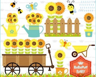 Buy 2 Get 2 Free ---- Sunflower and Bee Gardening Clip Art. Personal and Small Commercial Use ---- BB 0867