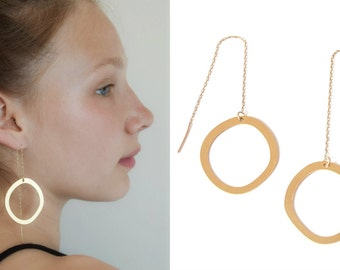 Threader earrings, Large gold statement hoops, Original earrings, Modern earrings, Chain earrings, Minimalist ear thread earrings