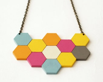 Large geometric necklace - honeycomb necklace - bee gift - laser cut jewellery colourful - bee necklace - save the bees -