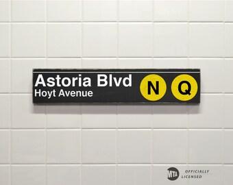Astoria Blvd Hoyt Avenue - New York City Subway Sign - Hand Painted on Wood