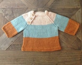 Color Block Sweater Hand Knit in Oyster, Sagebrush & Pumpkin 100% Peruvian Highland Wool (0-3 Months)///READY TO SHIP
