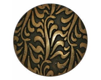 3 Fronds 7/8 inch ( 22 mm ) Metal Buttons Antique Brass Color