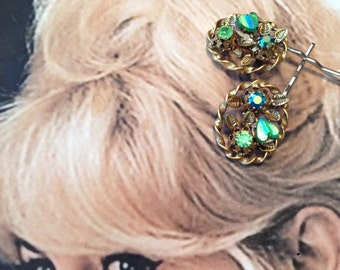 Decorative Hair Pins Jewelry 1940's Molded Green Heart AB Rhinestone Hairpins Bobby Pins