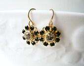 Black Swarovski Crystal Daisy Earrings. Small Black and Gold Earrings. Dainty Filigree Rhinestone Crystal Earrings Bridesmaid Earrings.