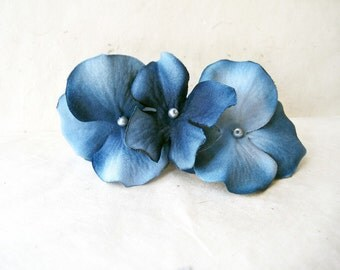 Blue Hydrangea Fabric Flower Bobby Pins. Floral Hair Accessories. Soft Antique Navy Blue Wedding Hair Clips Something Blue for Bride.