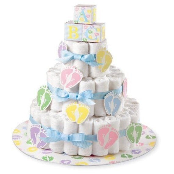 Wilton diaper cake kit baby shower centerpiece diaper cake - Wilton baby shower cake toppers ...