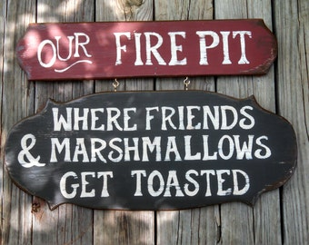 """2-Piece hand made custom """"OUR FIRE PIT"""" sign"""