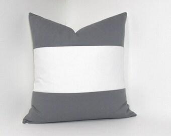 Grey & cream pillow cover.  Color block grey and cream accent throw pillow, home decor accent