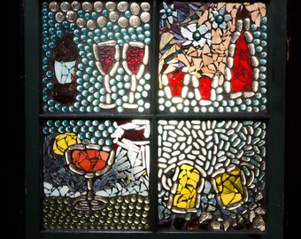 Mosaic Window, Cheers, Wine Decor, Bar Decor, Stained Glass