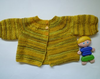 Hand knitted baby sweater,baby cardigan,yellow baby sweater for boys and girls,free shipping