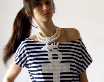 Statement Necklace Shark, white shark, summer nautical jewelry, rope jewelry, sea resort jewelry, white, shark week