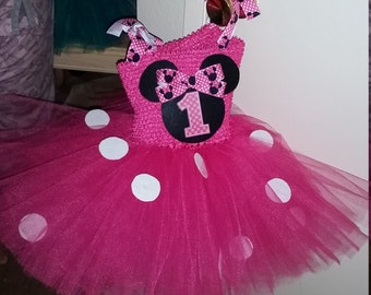 Pink and Black Minnie Mouse Costume Flower Girl Tutu Dress
