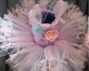 Pink, lavender and blue with silver ties Costume Tutu Dress