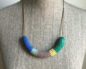 Crochet Vintage Chain Necklace // Blue, Mint, Yellow + Green