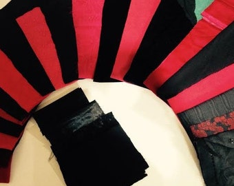 Black and Red Fancy Fabric Kit for Crazy Quilts, Etc.