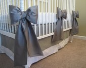 Adjustable Linen Crib Skirt:  READY TO SHIP,  adjusts to 3 crib heights, linen neutral baby bedding
