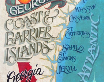 Georgia Barrier Island Coast Map  - Print , art