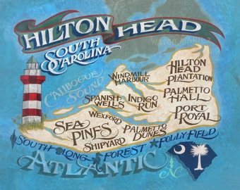 Hilton Head  Island  Map  - Print , art,SC