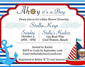 Personalized Nautical Sailor Baby Shower Invitation - Printable No. 443