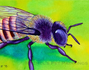 Honey Bee Painting, Bee Watercolor Painting Hone Bee Print Honey Bee Wall Art Animal Watercolor Insect Painting Bee Illustration