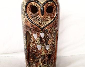 SALE Vintage Tall Ceramic Owl Votive Holder