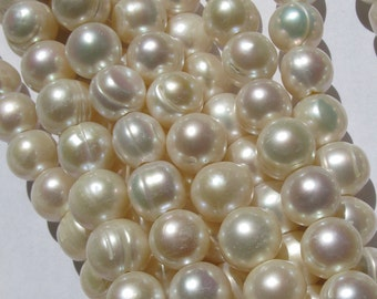 Large Hole Pearls Round potato 10-11mm Fresh water Pearl strand free shipping
