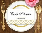 Gold Place Card Printable Template- Glam / Gold Wedding Instant Download DIY EDITABLE Folded Place Card Escort Cards, Tent Cards, Name Tags