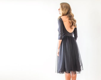 Black open-back tulle dress , Black short tulle gown with long sleeves 1051