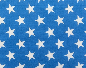 "Poly Cotton Print White Stars on Blue Background 60"" Fabric by the Yard - 1 Yard"