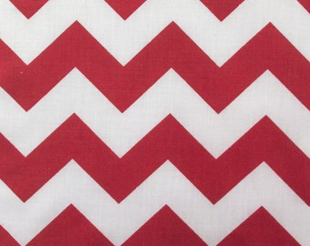Poly Cotton Big Chevron Zigzag Stripes Red and White 60 Inch Wide Fabric by the Yard, 1 yard