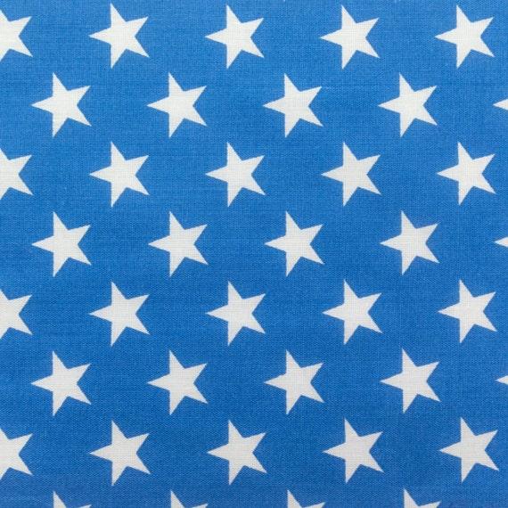 Poly Cotton Print White Stars on Blue Background 60