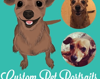 Custom Pet Portrait - Digital Cartoon Illustration! [FILE ONLY]