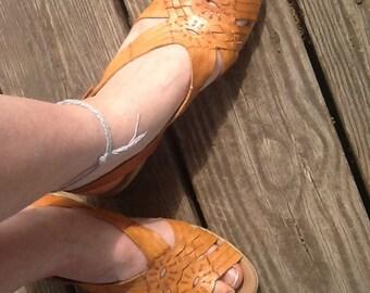 Vintage 80s Leather Sandals Mini Wedges size 8