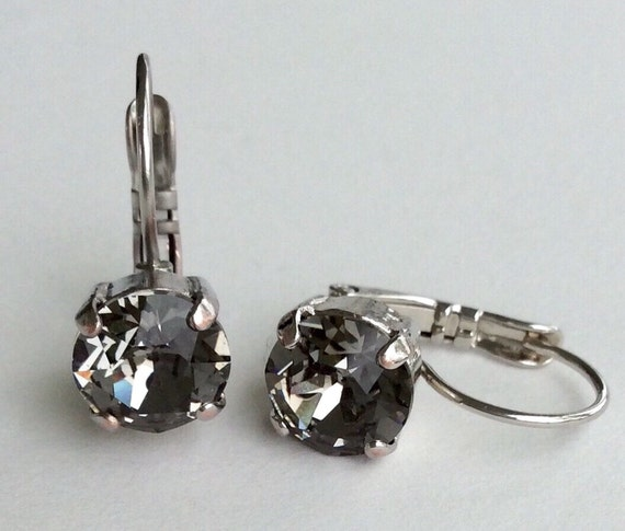 Swarovski Crystal 8.5mm Lever- Back Drop Earrings - Classy -Black Diamond   OR Choose Your Favorite Color and Finish -  FREE SHIPPING