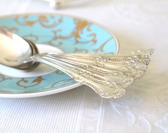 Teaspoon, Vintage Ornate Baroque Silver Plated Spoon, Rogers, Tea Party, Replacement Flatware