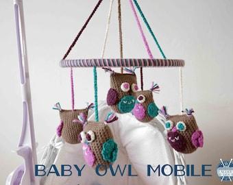 Baby Owl Mobile PDF crochet pattern