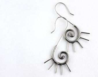 Tribal spiral dangle earrings, boho drop spiky spiral earrings, tribal jewelry, silver ethnic earrings