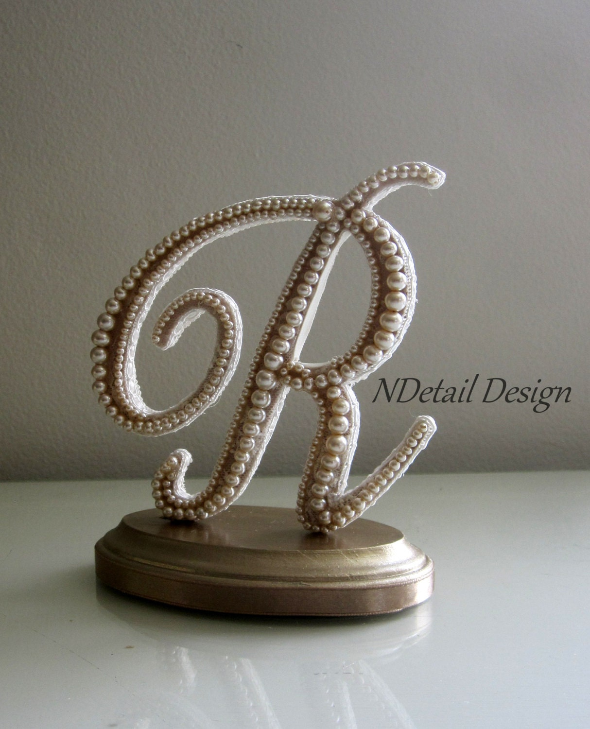 Unique Wedding Cake Topper Monogram Letter R Topper Vintage
