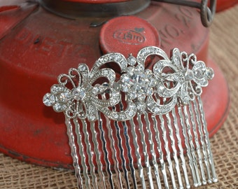 vintage style bridal rhinestone hair comb, wedding hair brooch vintage rustic small hair accessory