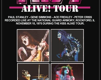 KISS ALIVE Tour Rockford Illinois 1976 Stand-Up Display - Christmas Gift Rock Collectibles Collection Memorabilia Retro Vintage Look kiss76