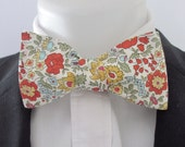 Men's bowtie  ~ made in Liberty print fabric ~  orange D'Anglo    ~ neoud ~ papilion ~tie ~wedding bowtie